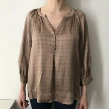 Joie Womens 100% Silk Printed 3/4 Sleeve V-neck Blouse, Size M / AU 8-10