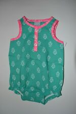 Carter's Baby Girl NB Turquoise Bodysuit w/ Pink Trim