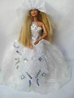 WHITE SEQUINS BARBIE DOLL 2 PIECE HANDMADE BALL GOWN WEDDING DRESS VEIL UKSELLER