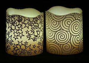 1Set2x Brand New 12 Colours Flameless LED Candle(star)– Melt Edge Pillar Model