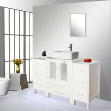 Bathroom Vanity W/ Side Table 48 inch Ceramic Vessel Sink Faucet Mirror Combo