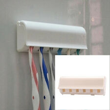 6 Holes White Home Bathroom Toothbrush Holder Stickup Wall Hang Stand With Cover