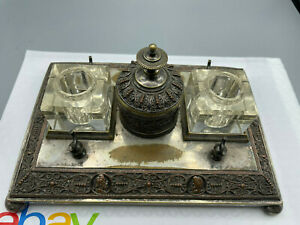 """Antique Art Nouveau Bronze ? Double Inkwell very ornated from estate 9""""x6"""" Heavy"""