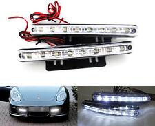 WHITE 8 LED DRL Daytime Running Light Parking Fog lamp kit Car Truck SUV Trailer