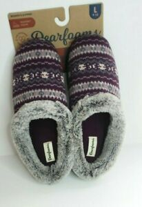 Dearfoams Knit Clog Memory Foam Slippers Women's Aubergine NWT