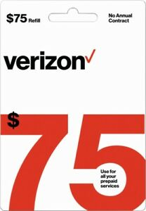 Verizon Wireless- $75 Refill,  Top-Up Airtime Card for Verizon Prepaid Service
