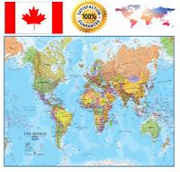 Giant World MegaMap Large wall Map 78 x 48  Lamination Premium Great Quality