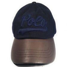 79ac0f88fab Polo Ralph Lauren Navy Blue Script Adjustable Wool Blend Leather Strapback  Hat