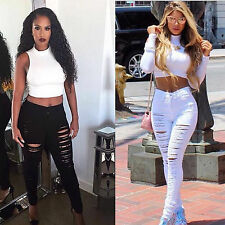 New Women Skinny Ripped Holes Jeans Pants High Waist Stretch Pencil Trousers