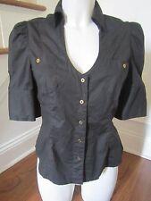 EXPRESS Fitted Black Cotton Button Down Shirt Blouse Shirt w/ Stretch Sz Medium