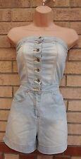 New look denim bleu clair tous boutonnée corset tout en un combi combinaison 10 s