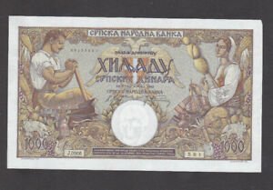 1000 DINARA EXTRA FINE+ BANKNOTE FROM GERMAN OCCUPIED SERBIA 1942 PICK-32