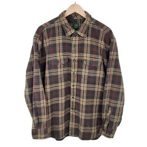 Mens Timberland Brown Thick Checked Long Sleeve Plain Flannel Shirt Size 2XL XXL