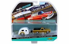 MAISTO 1:64 TOW & GO 1967 CHEVROLET EL CAMINO AND TRAVELER TRAILER DIECAST 15368