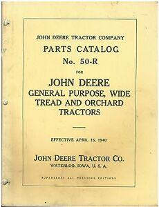 Vintage John Deere 1940 Orchard Tractor 50-R Parts Catalog
