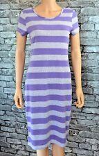 Women's Sleeveless Soft Knitted Lilac & Grey Striped Round Neck Dress Uk Size 10
