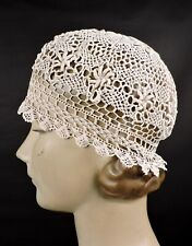 Antique Hand Made Edwardian Crochet Lace Hat / Bonnet