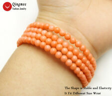 Natural 4-5mm Pink Round Coral Steel Wire Wrap Bracelet  for Women Jewelry br440