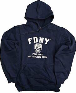 FDNY Kids Hoodie White Print Sweatshirt Navy