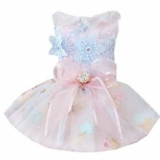 Dog Wedding Dress Clothes Lace Mesh Floral Embroidery Bow Princess Cute Pet