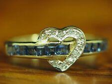 14kt 585 Gold corazón anillo con diamante & zafiro ribete/brillante/RG 50/1,4g