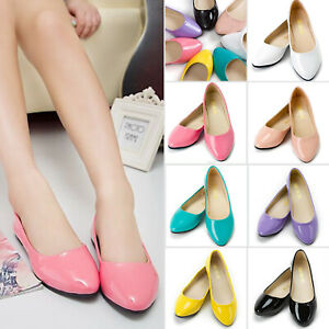 Women Ballerina Ballet Dolly Pumps Slip On Flat Boat Loafers Casual Work Shoes.