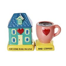 Sweet Home and Coffee Magnetic Ceramic Salt & Pepper Shakers Figurine