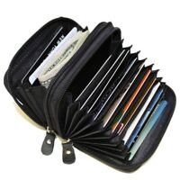 Genuine Leather Credit card holder accordian Wallet Black New by Marshal