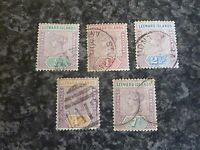 LEEWARD ISLANDS POSTAGE REVENUE STAMPS SG1-4 & 6 1890 FINE USED