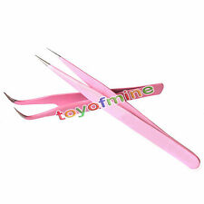 Useful 2PCS Pink Straight + Bend Tweezer For Eyelash Extensions Nail Art Nippers