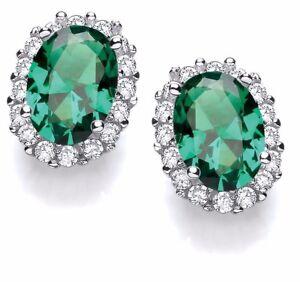J JAZ STELLA Sterling Silver Green Cubic Zirconia Stones Stud Earrings