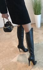 Anna Dello Russo Over The Knee Boots Black Gold MINT S.40