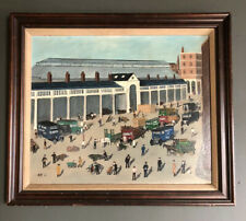 Original Oil Painting Of Covent Garden, English Naive School. Signed And Dated