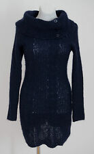 WOMENS JUST WOMAN KNIT DRESS TUNIC CABLE KNIT WOOL MOHAIR NAVY SIZE S SMALL EXC