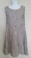 Womens Sahara Black White Stripe Pure Linen Sleeveless Tunic Dress With PocketsM