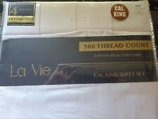 La Vie California King Sheet Set Plus 4 Pillow Cases in White color On Sale