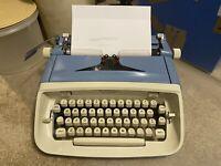 Vintage 1960s Royal Safari Manual Typewriter Blue Clean Tested Works No Case