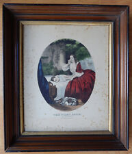 ANTIQUE CURRIER & IVES FRAMED LITHOGRAPH 19 C. HAND COLORED THE FIRST CARE