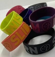 """Zumba Rubber Multicolored 8 Bracelets """"BOUNCE-TWIST-SHAKE-TURN-SLIDE"""" *NEW"""