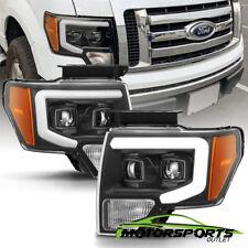 For 2009-2014 Ford F-150 PickUp LED Tube Bar Projector Black Headlights Set
