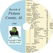 1900 - PICKENS County Alabama AL- History Genealogy Ancestry Records - CD DVD