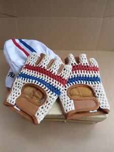 Vintage style Leather cycling gloves France