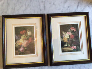 Vintage Botanical Framed Double Matted Black & Gold Wood Frames 10x12 inches.
