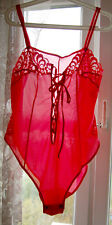 VINTAGE RED SHEER POLYAMIDE TEDDY BODY  ALL-IN-ONE M