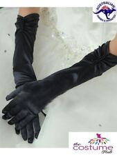 BLACK Satin Gloves Burlesque Costume Prom Wedding Christmas AU