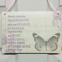 Stronger Inspirational Motivational Friendship Gift Quote Sign Butterfly Plaque
