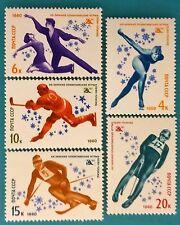 Rusia (Unión Soviética) USSR -1980 estampillada sin montar o nunca montada Conjunto de 5 Juegos Olímpicos de Invierno Deporte XIII