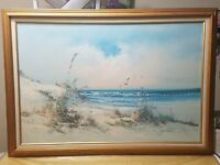 E.CARLSEN BEACH Seascape  Ocean tranquil scenery painting NAUTICAL Impressionist