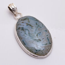 925 Sterling Silver Pendant, Natural Moss Agate Gemstone Handmade Jewelry P540