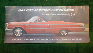 1963 Ford Galaxie 500 XL Country Sedan Squire Convertible ORIGINAL OWNERS MANUAL